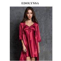 zwei dessous großhandel-Robe Gown Set Zwei 2 Stücke Romantische Nachtwäsche Frauen Satin Dessous Set Spitze Peignoir Kimono Nachtwäsche Seide Sexy Homewear H656