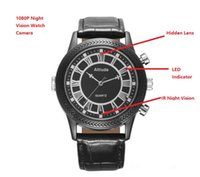 Wholesale 8g waterproof watch camera - 8GB 16GB 1080P Slim Spy Watch DVR Waterproof IR Night Vision Hidden Camcorder Wrist Watch Camera Mini Camcorders in Retail Box