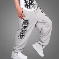 Wholesale boys hip hop pants - Men hip-hop pants plus size loose thin 2017 spring and summer male trousers skateboard health pants teenage boy black gray