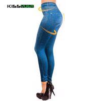 kunstlederstrickgamaschen großhandel-Dropship Leggings Jeans für Frauen Jeanshosen mit Tasche Slim Jeggings Fitness Plus Größe Leggins S-XXL Schwarz / Grau / Blau KL0055