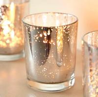ingrosso candelabro pilastro-Portacandele in vetro Mercury da 2,5 pollici alto in argento colore decorazione a 24 pezzi / lotto