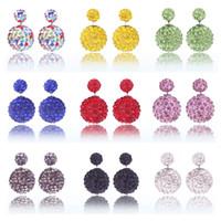 ingrosso sfere orecchini-Di alta qualità Nuovo Double sided Shambala Ball Orecchini Moda gioielli Diamond Crystal Disco perline Orecchini T2C106