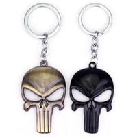 Wholesale skull keychains - MQCHUN Marvel The Punisher Skull Metal Keychain chaveiros llaveros Keyring For Car Key Chain Ring Pendant llaveros mujer hombre