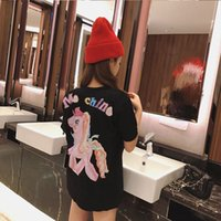 Wholesale rainbow t shirt women - 18 spring and summer New Goddess net red age cartoon behind rainbow pony Unicorn loose casual lovers T - shirt
