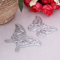 Wholesale Butterfly Die Cuts - 2pcs set Cutting Dies Butterfly Metal Cutting Dies Stencils for DIY Cutting Dies Die Cut Stencil Scrapbooking Decorative Craft