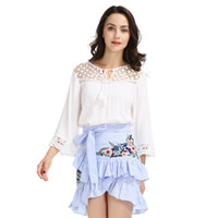 Wholesale women winter flower skirt - Women sweet ruffles flower embroidery striped skirts bow tie waist A-line side zipper ladies fashion casual mini skirt BSQ554