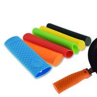 Wholesale tool heat iron online - 6 Colors Silicone Cast Iron Handle Cover Skillet Holder Protection Sleeve Multicolor Anti heat Gadgets Kitchen Accessories Tools