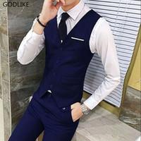 ingrosso mens del vestito di usura del partito di nozze-Casual New di alta qualità Nero Blu Groomsmens Vest Wedding Prom Party Gilet Gilet da uomo Casual Suit Wear Gilet formale da uomo d'affari