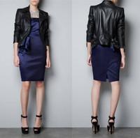 Women Fashion Soft PU leather Jacket zipper black punk long sleeve coat with zippers