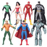 brinquedos batman para crianças venda por atacado-7 pçs / set Anime Figura 17 cm Super-heróis Batman Lanterna Verde Superman Mulher Maravilha PVC Figuras de Ação Crianças Brinquedos Bonecas modelo