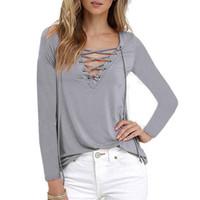 Wholesale woman white plain shirt - Women Sexy Plain Deep V Neck Cross Eyelet Lace Up Long Sleeve Blouse Top Shirt