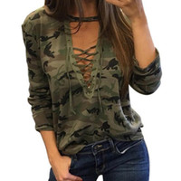 Wholesale camouflage print blouse for sale – plus size Fashion Camouflage Print Shirt Blouses Autumn Women Shirts Ladies Sexy Long Sleeve Hollow Out Lace Up V Neck Casual Tops Blusas