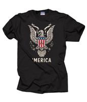 ingrosso camicie di aquila sottile-Usa Freedom 'merica Eagle Cool T-shirt patriottica T-Shirt Of July T-shirt 2018 Moda 100% cotone Slim Fit Top