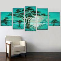 paneles de paisajes de petroleo al por mayor-Pintura Caligrafía Cuadros de pared Árbol verde Paisaje Pintura al óleo sobre lienzo Sin marco 5 paneles Trabajos artesanales hechos a mano