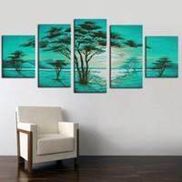 ingrosso pannelli dei paesaggi petroliferi-Pittura Calligrafia Pitture murali Albero verde Paesaggio Dipinto ad olio su tela Frameless 5 pannelli fatti a mano artigianalmente