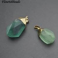 mavi kolye doğal taş toptan satış-Doğal Mavi Yeşil Florit Taş Nugget Kolye fit Kolye yapımı