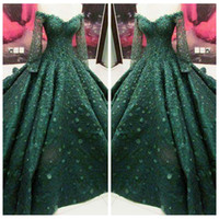Wholesale Long Sleeves Maxi Dress Petite - 2018 Long Sleeves Dark Green Prom Dresses 3D Flowers Adorned Formal Vestidos De Evening Party Gowns Women Maxi Dresses Lace
