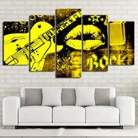 kleber mund groihandel-Freies verschiffen Heißer Verkauf 5 Stücke Gitarre Rock Musik Mund Kuss Leinwand Malerei Bilder Kunst Öl Poster Wand Bilder Moderne Spray Malerei