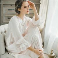 801a96de07 2018 Royal Court Lace Cotton Nightgown Princess Long Sleeve Nightdress  Ladies Sleepwear White Women s Nightwear