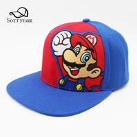 супер марио бейсболки оптовых-Популярные игры Super Mario Bros бейсболка вышивка мультипликационный персонаж Sun Hat хлопок SnapBack Cap для мужчин и женщин Gorras