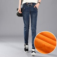 Wholesale Girls Size Outerwear - 2018 new 200 Pounds Plus Size 5XL Women Winter Harlan Jeans Leisure Elastic Waist Trousers Thick Girls Outerwear With Velvet Pants MZ1891