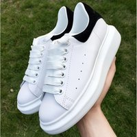 Wholesale sneakers shoes high platforms - High Quality Mens Womens Fashion Luxury All White Leather Platform Shoes Flat Designer Lady Black White sneakers for women with box 35-44