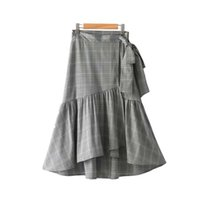 Wholesale contrast ties - women ruffled plaid wrap skirt bow tie belt faldas mujer houndstooth ladies casual fashion irregular A line skirts BSQ642