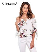 ba032d441d995f Discount cute summer half shirts - VITIANA Women White Floral Print Chiffon Blouse  Tops Female 2018