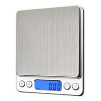 küchenwaagen gewichte großhandel-Tragbare digitale Küche Bank Haushaltswaagen Balance Gewicht Digital Schmuck Gold elektronische Taschengewicht + 2 Trays Balance