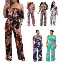 Wholesale women sexy jumpsuits wide leg - Off Shoulder Floral Print Playsuit Long Rompers Wide Leg Jumpsuits Sexy Summer Rompers Overalls Women Rompers 6 Styles OOA4883