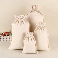 pequenos sacos de lona venda por atacado-Grandes Tamanhos De Algodão Em Branco Da Lona Musselina Com Cordão Saco De Armazenamento Saco De Presente Saco de Coisas Sacks para Pequenas Coisas e Presentes