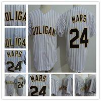 Wholesale white shirt button up - Mens Bruno Mars #24K Hooligans Baseball Jerseys Gray White Pinstripe BET Awards Doo-Wops Singers Bruno Mars 24K Magic Button Up Shirts S-3XL