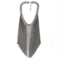 Wholesale collar necklace online - fashion brand big long chain tassels collar choker necklace vintage statement maxi necklace women Jewelry
