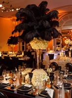 pena plumas preto venda por atacado-100pcs factoryprice / monte de penas de avestruz plumas de avestruz Pena preta para a decoração de casamento de casamento central decoração coetumes partido z134M