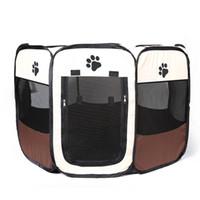 ingrosso giocattoli per animali da compagnia-Outdoor Portable Pet Fence Sleeping Tent Gabbia pieghevole Cane Box Oxford Portable Puppy Kennel Quality Hot