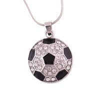 Wholesale themed plates - High Quality Silver Sports Themed Black Football Soccer Shape Pendant Necklace Jewelry Pretty Girl Good Gift