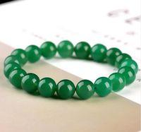 Wholesale chinese porcelain bracelet resale online - Beautiful Jewelry Chinese mm Green Chalcedony jade Beads Elastic Bracelet