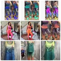 Wholesale yoga outfit wholesalers - women Love Pink Letter Outfit summer Sleeveless Tank Top Vest Tights Pants Tracksuit Gradient color Sportswear pink casual outfit KKA5132