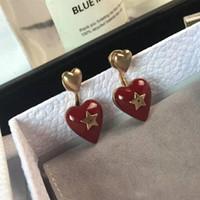 ingrosso piastre di cuore rosso-Europa e in America Hotsale Nuove donne di moda orecchini placcato oro rosso cuore orecchini di marca per ragazze donne bel regalo