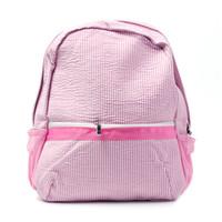 mochilas escolares gratuitas al por mayor-Tamaño regular Mochila Seersucker Espacios en blanco al por mayor Navy Pink Striped School Bag en 6 colores School Gift Book Bag Envío gratis DOM106031