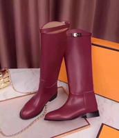 botas negras altas hasta la rodilla al por mayor-Kelly Buckles Mujeres Botas altas de cuero genuino Negro Gris Marrón Botas Martin Boots Pisos Talones Botas caballero femenino Sapatos Mujers