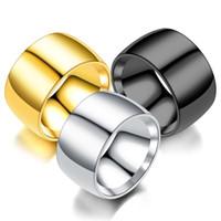bague plaquée or fanée achat en gros de-MGFam (271R) 316L acier lisse Titanium Grand Large Anneaux pour Hommes avec succès 18k / Noir / Blanc plaqué or No Fade