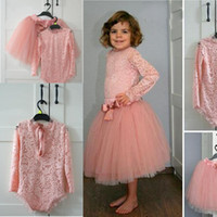 Wholesale cute cheap tops - Cute Pink Two Pieces Baby Party Dresses Lace Top And Tulle Skirt Flower Girl Dress For Wedding Long Sleeves Girls Pageant Gowns Cheap