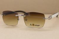 Wholesale Inside Lens - Genuine Natural Buffalo horn White inside Black Rimless Sunglasses Men T8100905 Brand Glasses Frame Size:57-18-140mm