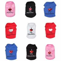 baba bayan elbiselerini seviyorum toptan satış-Annemi Seviyorum Baba Pet Giysi Rahat Yaz Kedi Köpek Yelekler Pratik Yumuşak Yavru Malzemeleri Siyah Pembe 9 5cy5 B