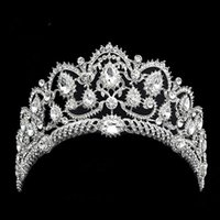 Wholesale baroque heart - Hot sales Bridal Hair Accessory Baroque Crystal Rhinestone Sparkly Crown Wedding Quinceanera Tiara and Pageant headband stunning headpiece