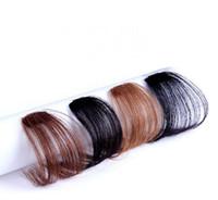 бахрома волос оптовых-Чистый ручной реальные человеческие волосы тонкий аккуратные воздушные челки клип в корейский Fringe фронт шиньон стиль поддельные аксессуары для волос
