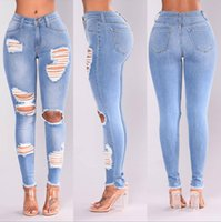 70d5cb6dc9 2018 Ladies Stretch Ripped Sexy Skinny Jeans Womens Waisted Slim Fit Pantalones  de mezclilla Slim Denim Jeans rectos ajustados Skinny Ripped Blue