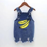 Wholesale baby girl color jeans resale online - Baby Girls Denim Skirt Banana Cartoon Print Braces Skirt Jeans Skirt Summer with Suspender Knee length T