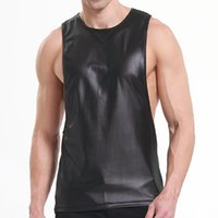 49a22f3b72226 Faux Leather Mens Workout Tank Tops Fitness Bodybuilding Clothing Black Low  Cut Armholes Vest Muscle Singlets Men Activewear